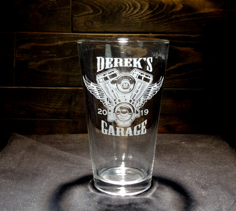 Custom Retro Motorcycle Etched Pint Glass