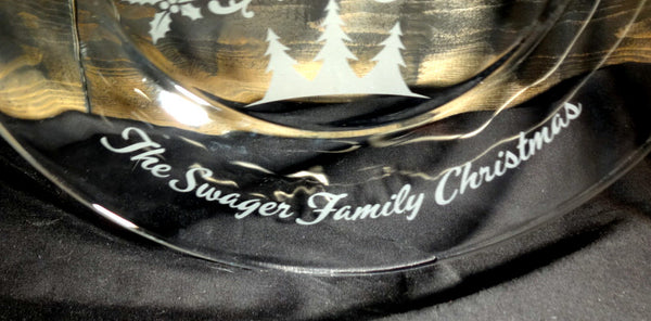 Santa's Cookies Personalized Etched Glass Plate