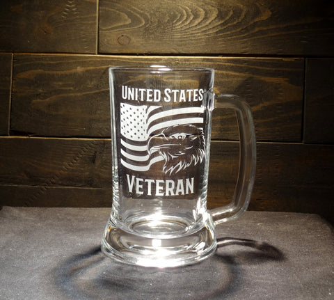 United States Veteran Etched Glass Mug, American Flag and Eagle