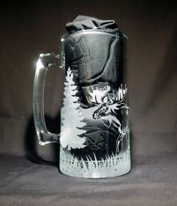 Standing Moose Mug, Etched Glass Nature Scene Beer Mug