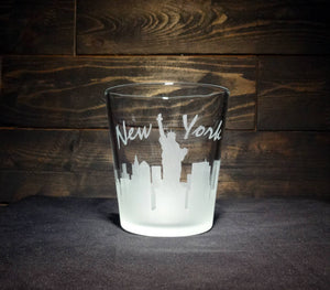 New York City Skyline Whiskey Glass, Etched Rocks Glass, Double Old Fashioned, Set of 2