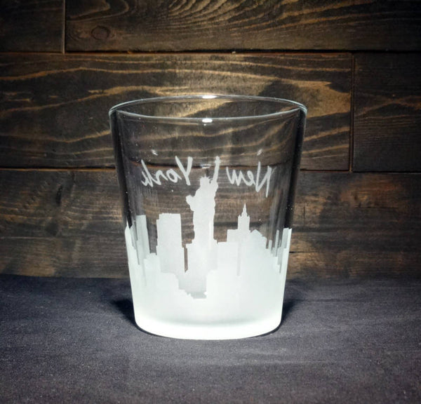 New York City Skyline Whiskey Glass, Etched Rocks Glass, Double Old Fashioned, Set of 4