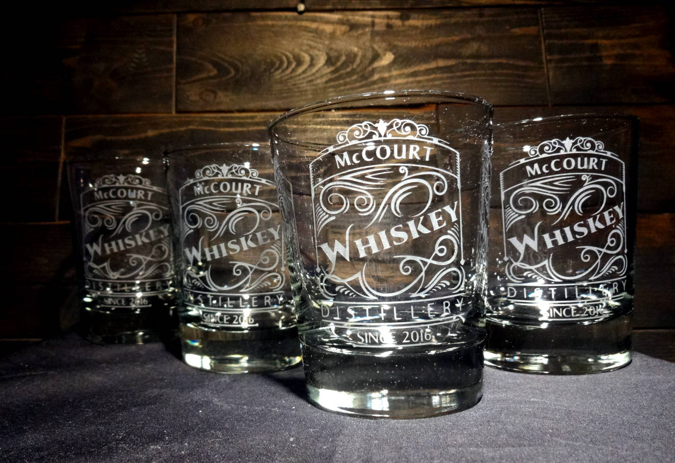 Personalized Etched Whiskey Rocks Glasses, Scroll Whiskey Distillery Label, Set of 4