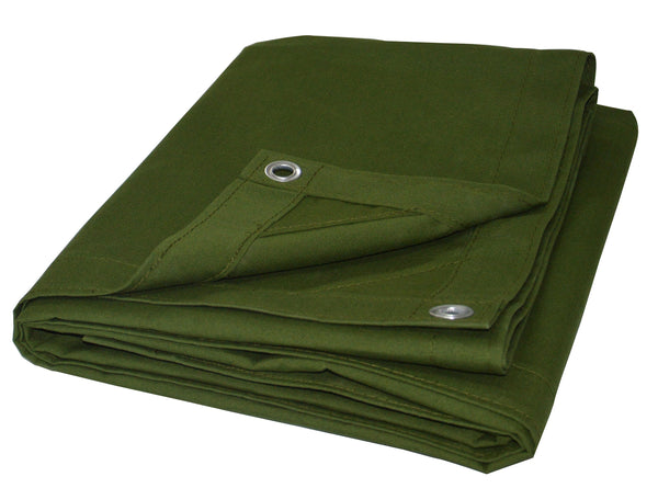 CARTMAN Olive Drab 10 oz Canvas Tarpaulin 3 Sizes for Option (10' x 12')