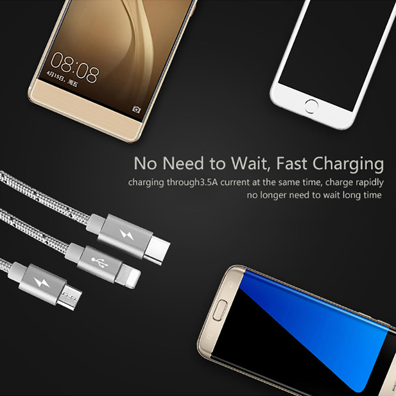 Premium Unbreakable Nylon Fast Charging Braided 3 in 1 Data Cable