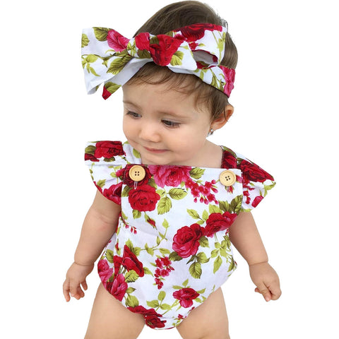 Floral Baby Onesie with Headband