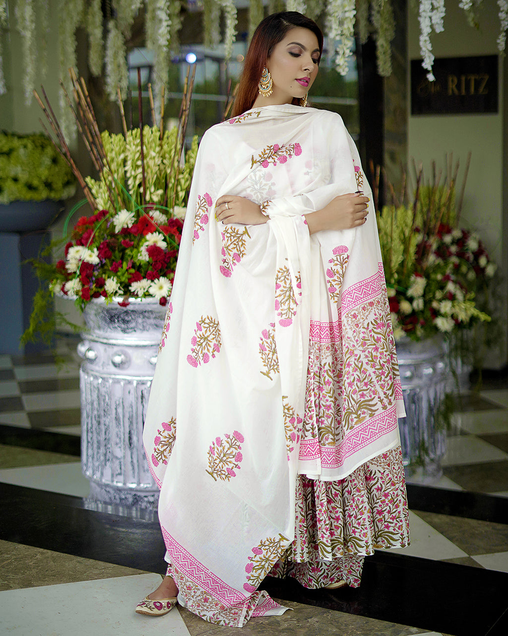 White Mehrab Handblock Suit Set