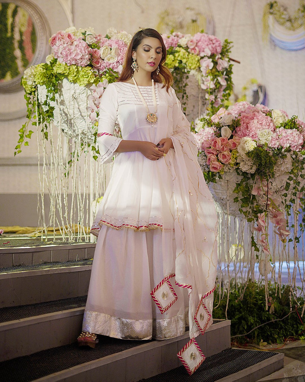 White Organza Gota Sharara Set