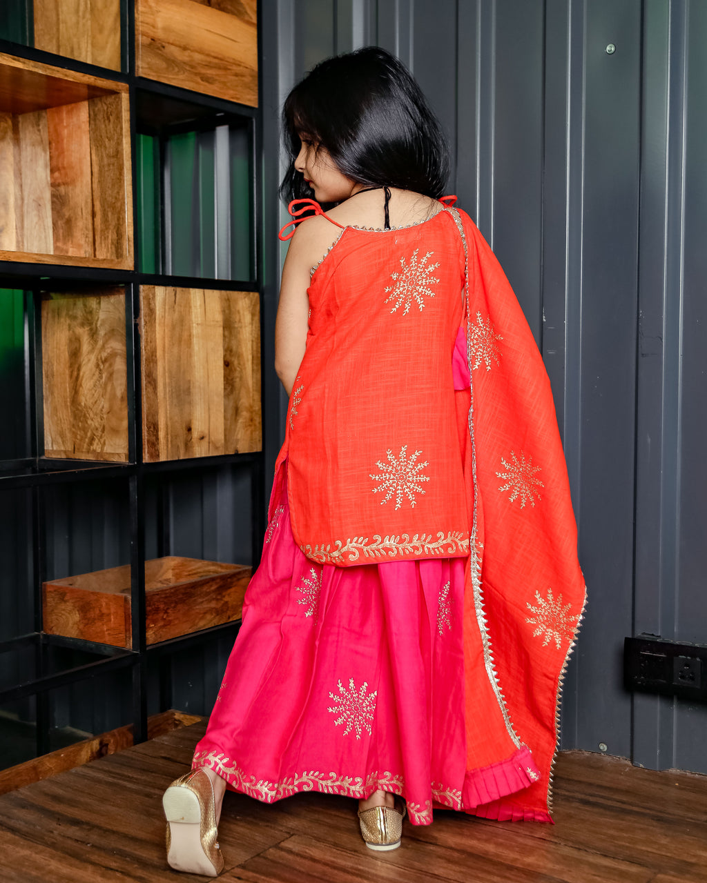 Orange and Pink Sharara Set