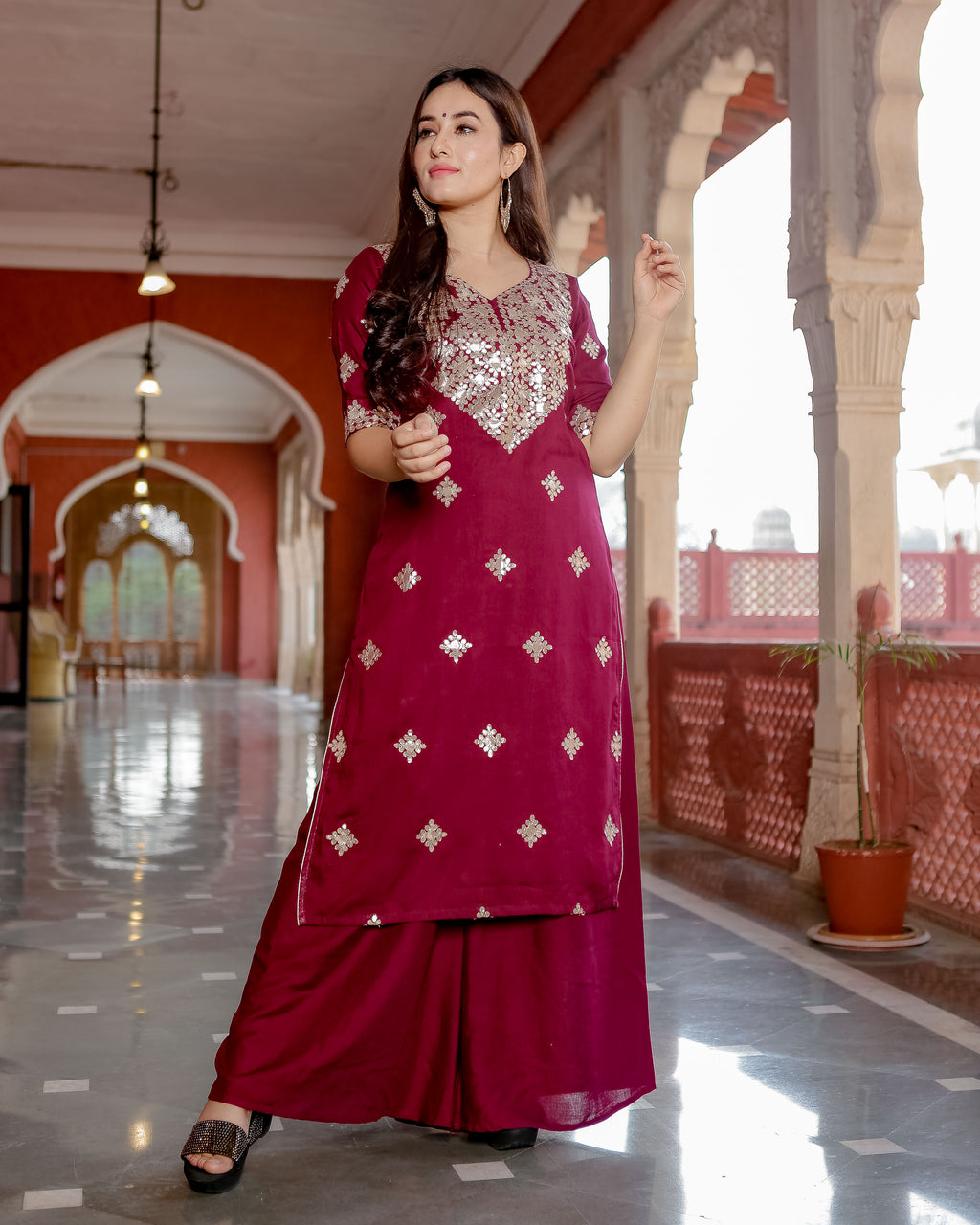 Vivid Burgundy Gota Handwork Set