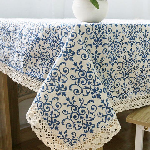 Retro Blue and White Table Cloth - Gidli