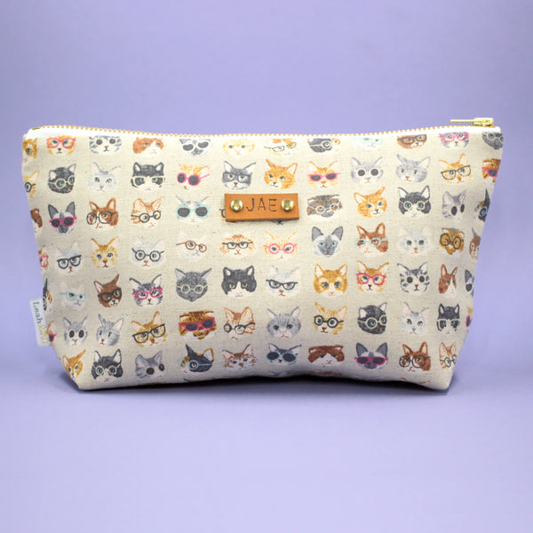 Cats With Glasses Makeup Bag