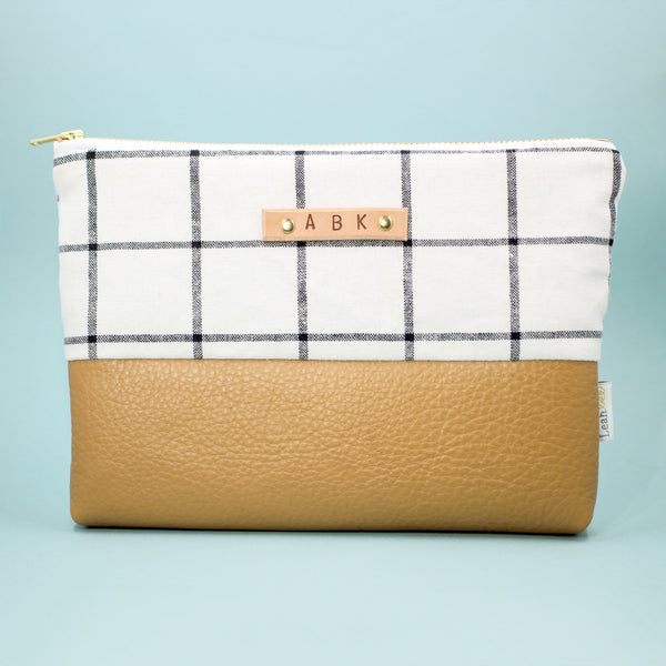 Linen Grid Leather Clutch