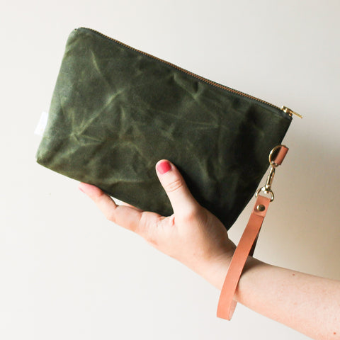 Peony Waxed Canvas Clutch