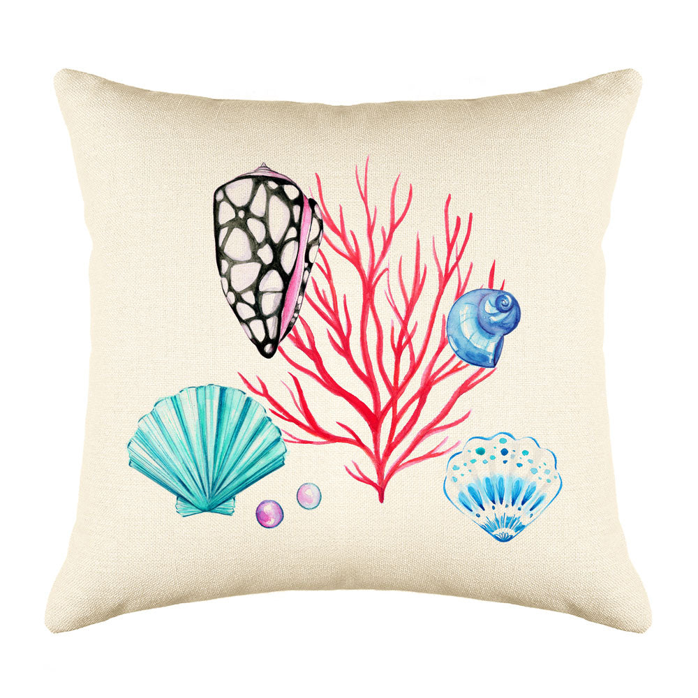 Coral Reef Throw Pillow Cover - Coastal Designs Throw Pillow Cover Collection-Di Lewis