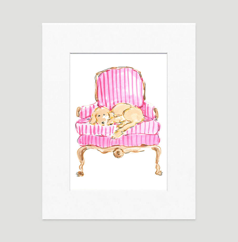 Ginger The Golden Retriever Art Print - Dog Illustrations Wall Art Collection-Di Lewis