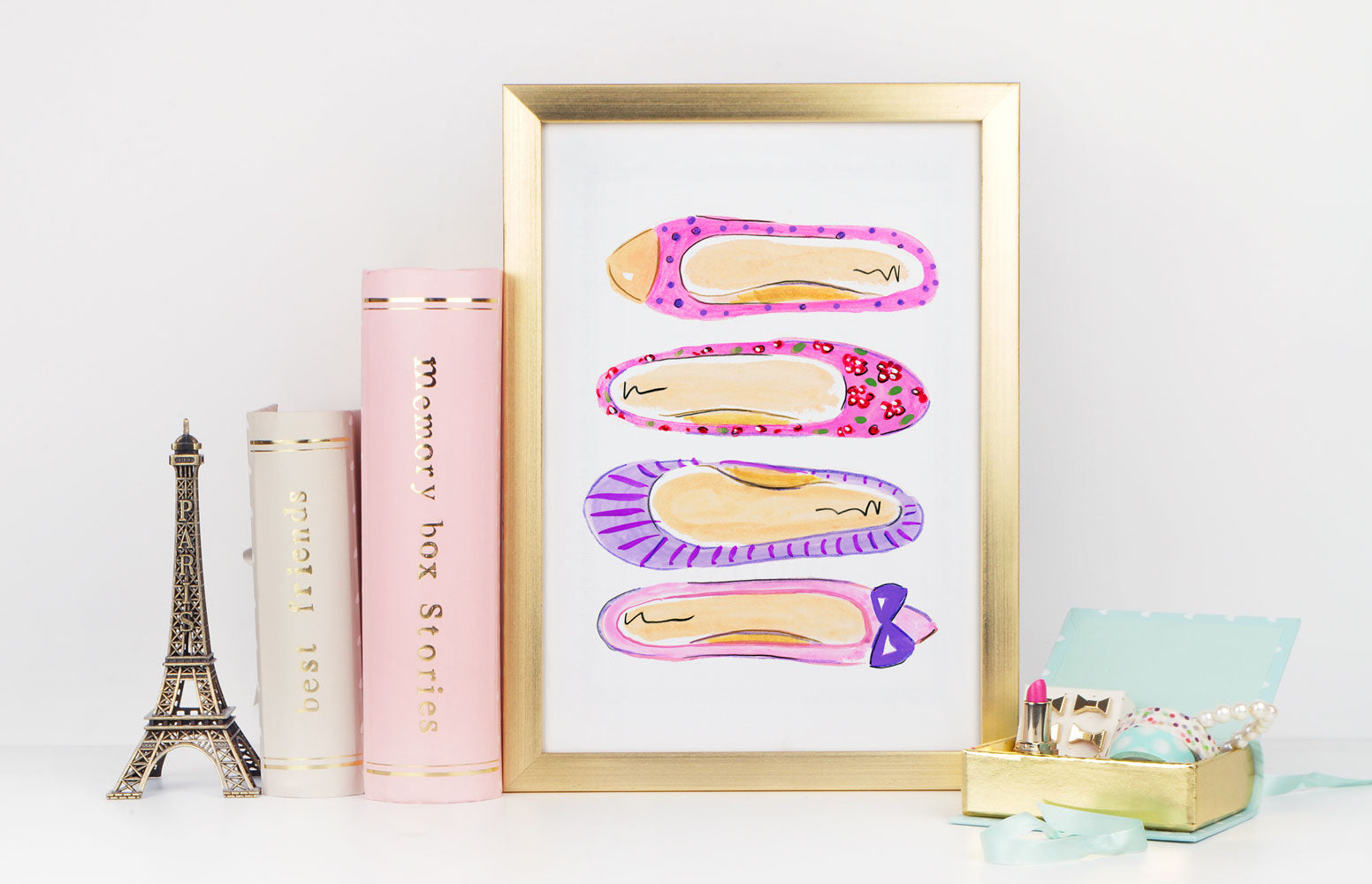 Preppy Flats Art Print - Fashion Illustration Wall Art Collection-Di Lewis