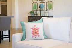 Sea Turtle Coral Throw Pillow Cover - Coastal Designs Throw Pillow Cover Collection-Di Lewis