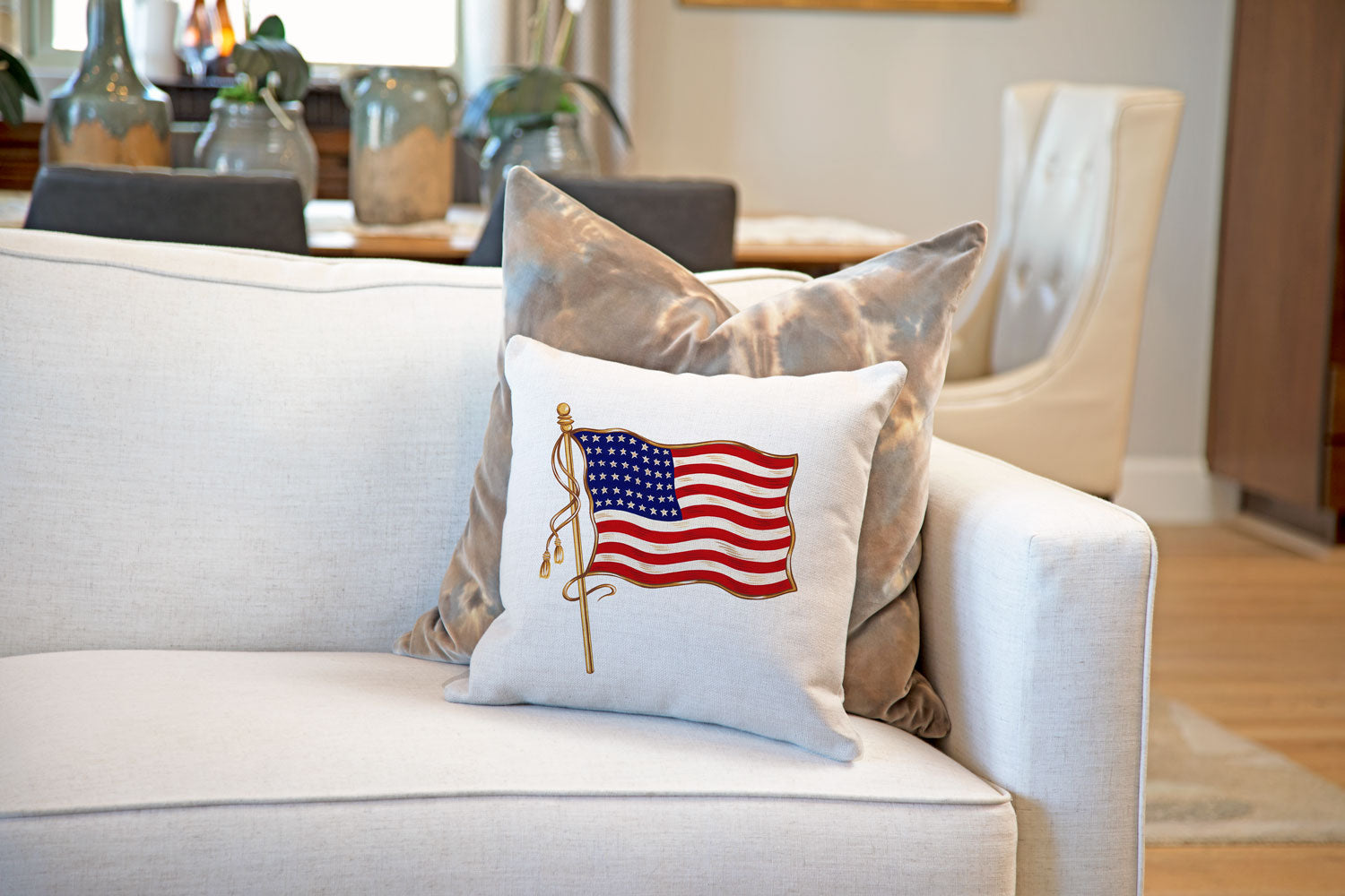 Vintage American Flag 48 Stars Throw Pillow Cover - Decorative Designs Throw Pillow Cover Collection-Di Lewis