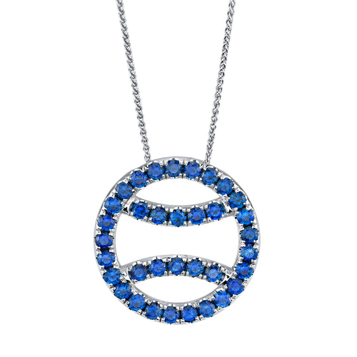 Sapphire Tennis Ball Necklace in 18k white gold, large