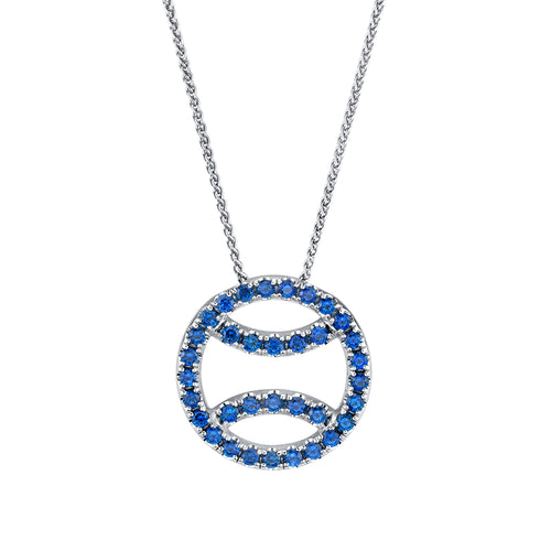 Sapphire Tennis Ball Necklace in 18k white gold, small