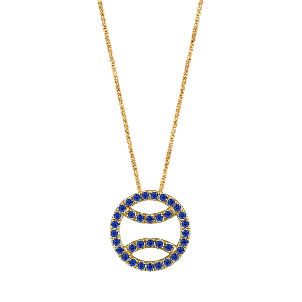 Sapphire Tennis Ball Necklace in 18k yellow gold, small