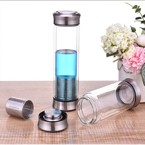 Leak-Proof Glass Water Bottle 300/420ml Drinking Teapot Sports Travel Tour Circular Transparent Bottles With Tea strainer