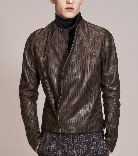 OPSUNDBAY – MENS EMBOSSED LEATHER BIKER JACKET