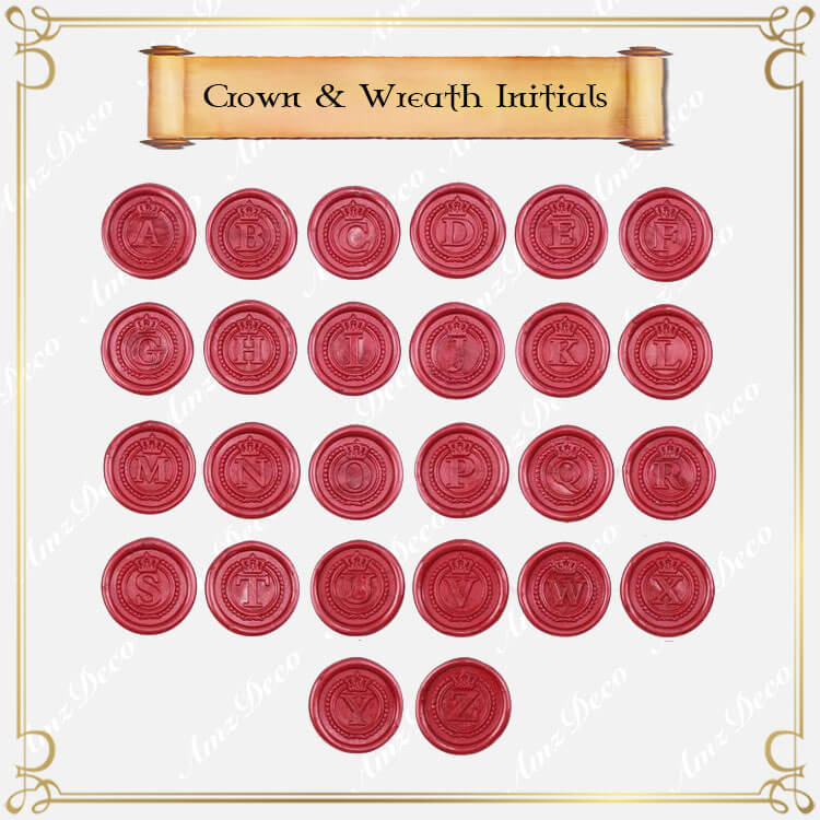 Crown & Wreath Single Initial Wax Seal Stamp