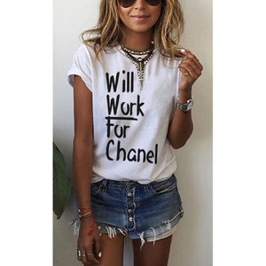 Will Work for Chanel Tee (Various Colors)