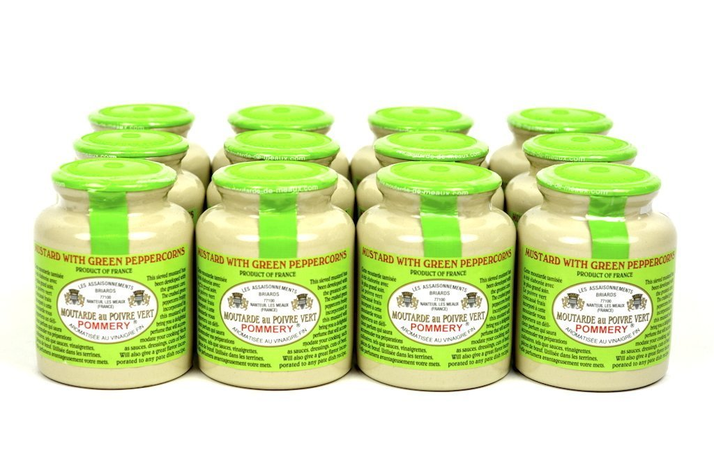Pommery Gourmet Green Peppercorn Mustard from France in Crock Case of 12 Units - Wholesale