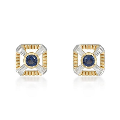 Eleanor Gold Stud Earrings In Blue