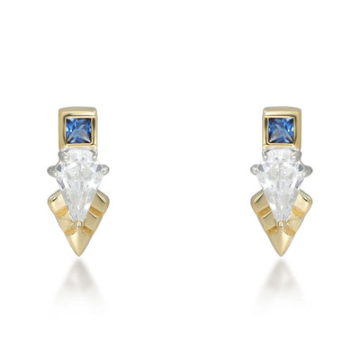 Thea Gold Stud Earring in Blue
