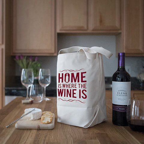 Four Bottle Wine Tote – Home is Where the Wine is – Maroon