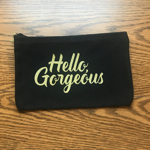 Zipper Pouch – Hello, Gorgeous – Metallic Gold
