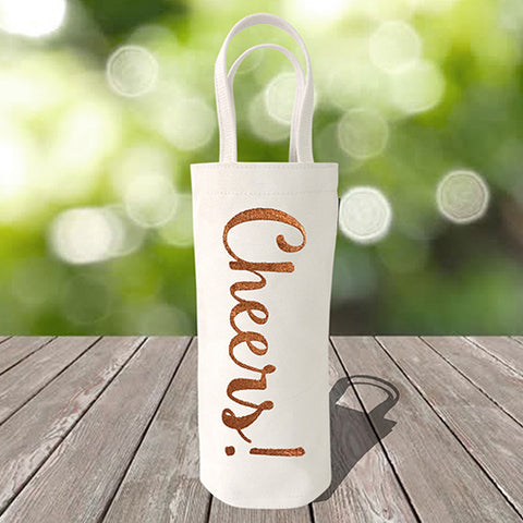 Single Bottle Wine Tote – Cheers – Metallic Copper