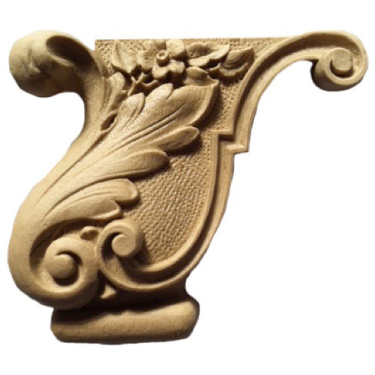 "Brockwell's 4""(W) x 3-1/2""(H) - Interior Applique - Floral Furniture Foot - (PAIR) - [Compo Material]- - ColumnsDirect.com"