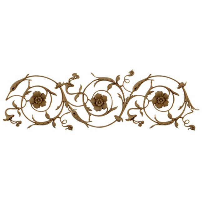 "5""(H) x 1/4""(Relief) - Stainable Linear Molding - Italian Renaissance Floral Scroll Design - [Compo Material]-Brockwell Incorporated"