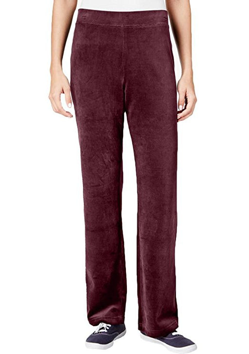 Karen Scott Petite Velour Pull-On Pants Merlot PL