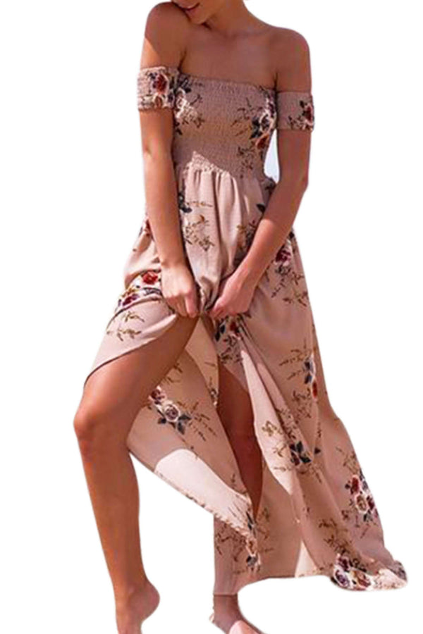 Iyasson Off Shoulder Floral Printed Beach Maxi Dress