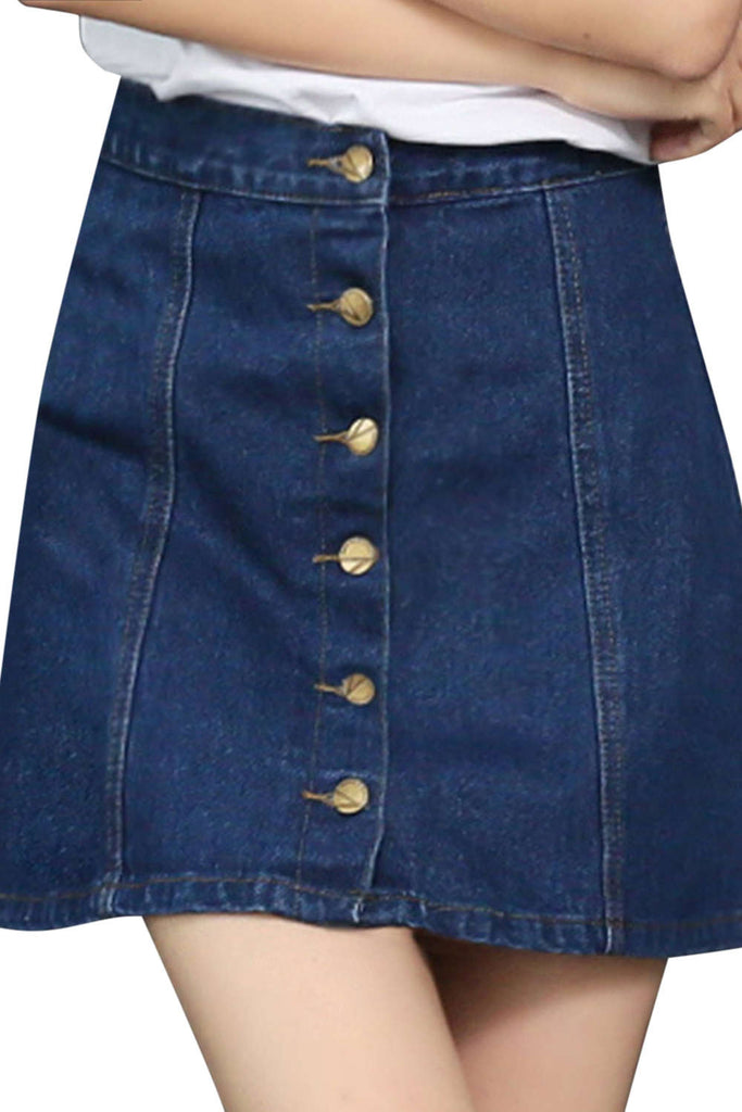 Iyasson High Waisted Button Front Denim A-Line Mini Skirt