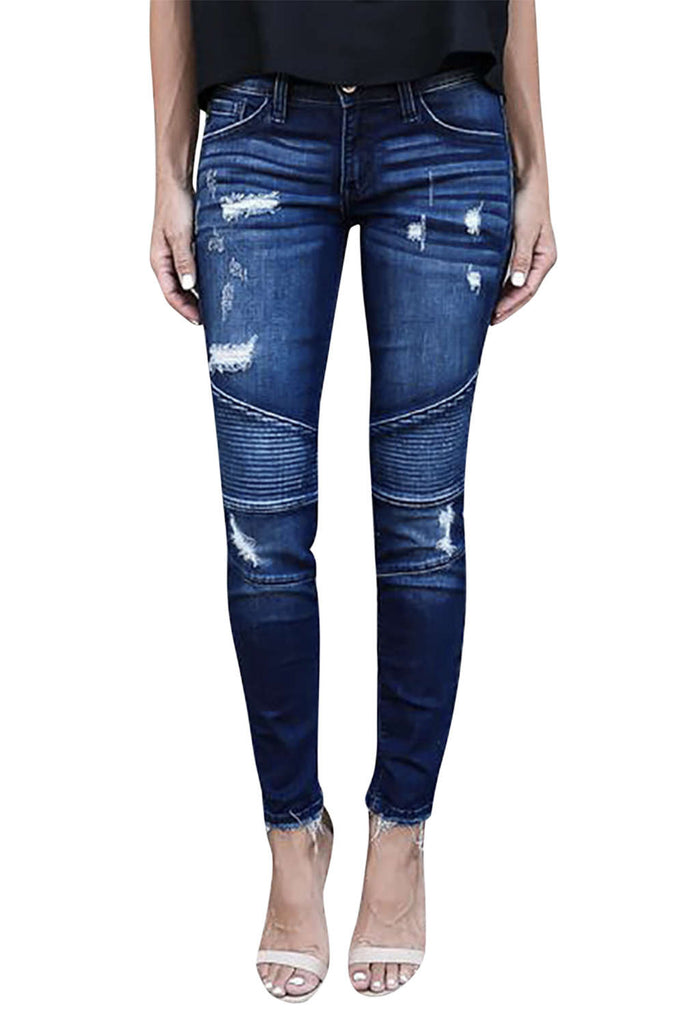 Iyasson Women's Skinny Ripped Jeans
