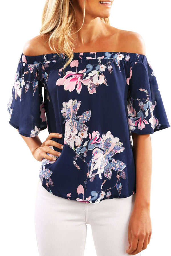 Iyasson Women Off Shoulder Floral Blouse