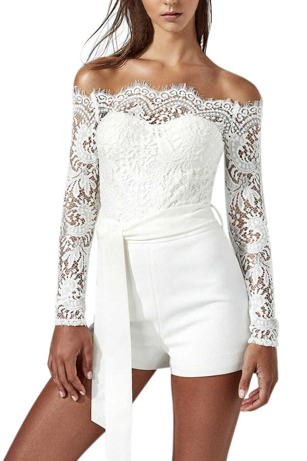Iyasson Off-the-shoulder Lace Splicing Romper