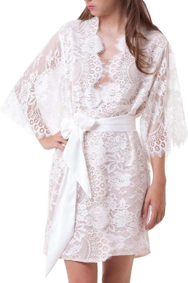 Iyasson Women Sexy Sheer Lace Robe