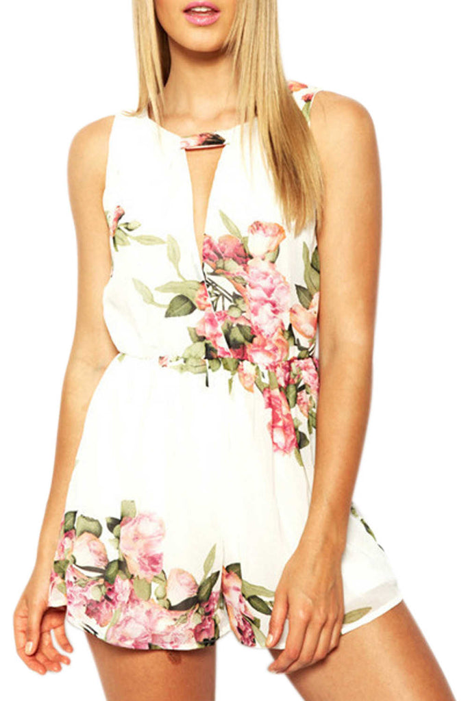 Iyasson Floral Short Sleeveless Short Rompers