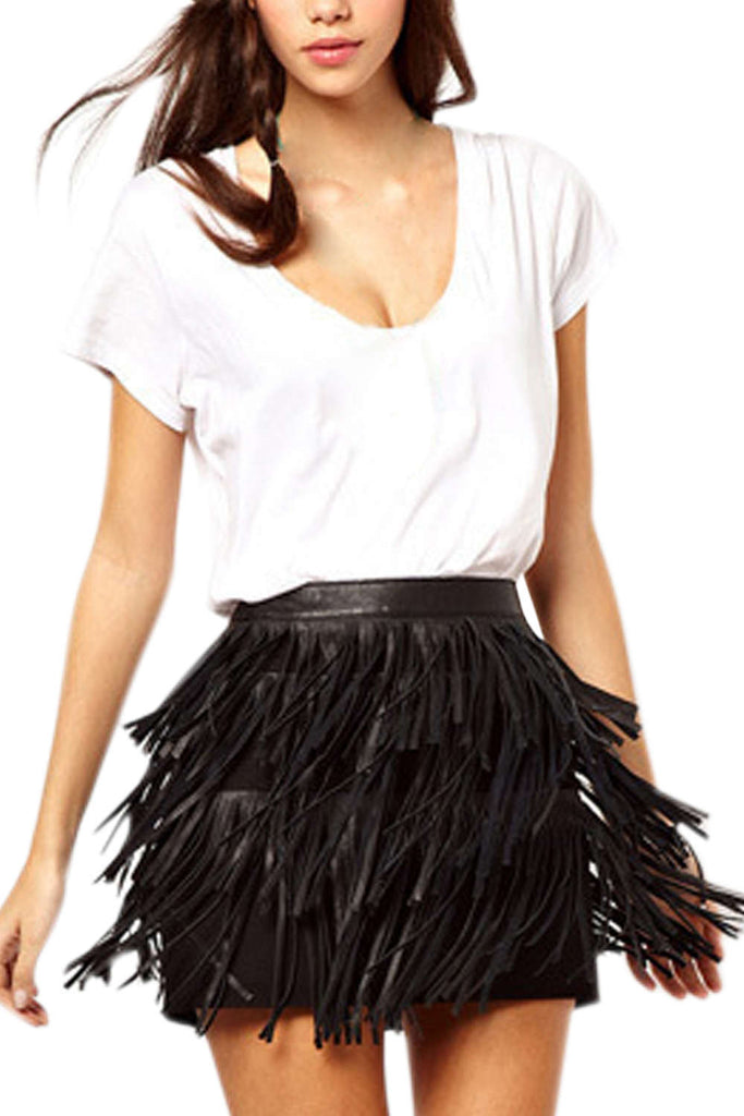 Iyasson Tassel Tiered Faux Leather Mini Skirt