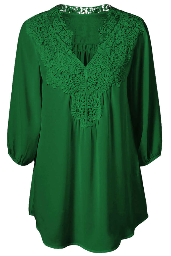 Iyasson Women's Stand Collar Lace Plus Size Tunic Blouse