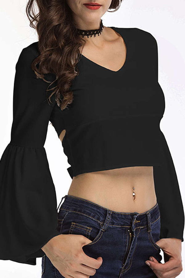 Iyasson Women's Bell Sleeve Crop Tops