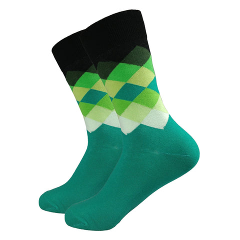 Mens Socks, Colorful Socks, Fun Socks, Green Dress Socks